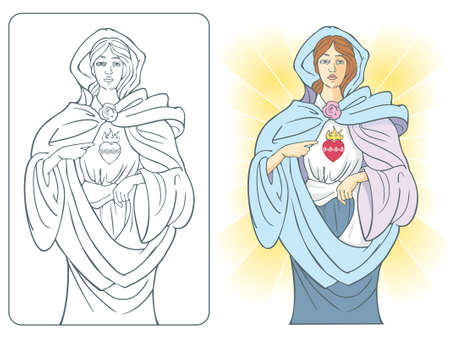 Vector illustration of the Virgin Mary with sacred heart of fire and roses  Vectores