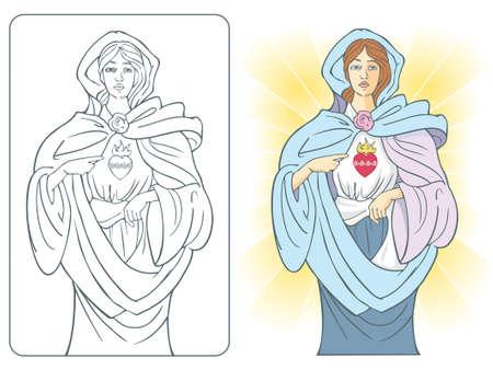 virgen maria: Ilustraci�n vectorial de la Virgen Mar�a con el sagrado coraz�n de fuego y rosas. Todo color e ilustraci�n de un color incluido. Vectores