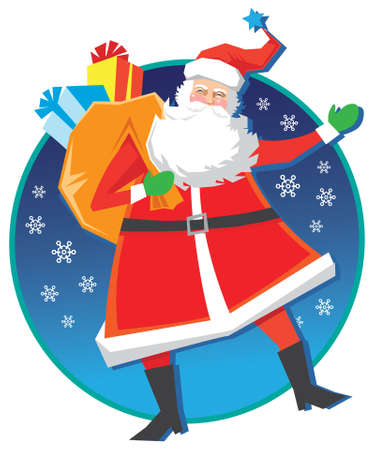 Happy vector Santa Claus with bag and presents on a circular blue background with snowflakes. Stock Vector - 5712226