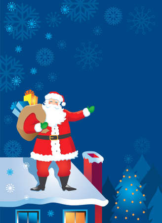Santa Claus on the Rooftop at night with snowflakes Vector