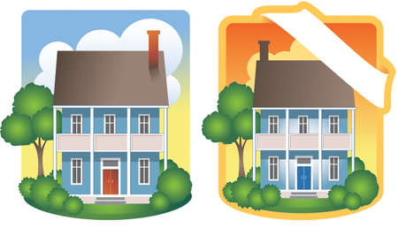 residential homes: Traditional Two-Story House Illustrations Illustration