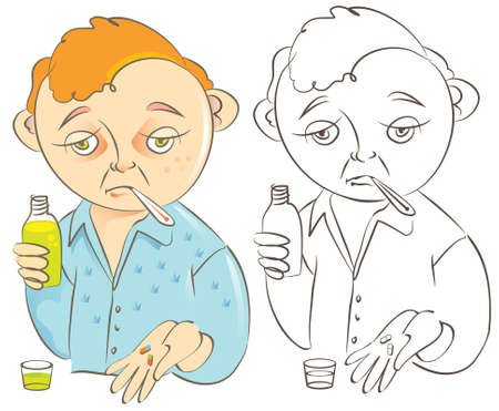 Vector cartoon illustration of a funny little man looking sick and sad with the flu or a bad cold, holding cough syrup bottle and pills.