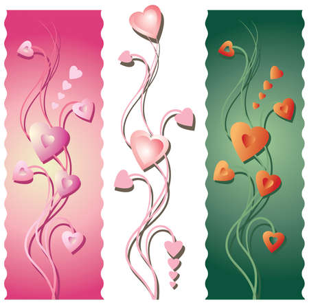 Three vertical floral borders or banners for Valentines Day. Background and objects and shadows on separate layers. Contains radial gradients.