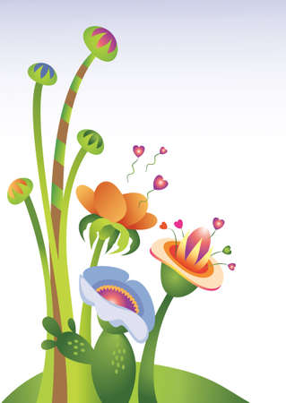 Whimsical, imaginary floral illustration with a Valentines Day or Love theme. Flowers are shedding heart shaped pollen and spores into the air. Each plant and background items are on a separate layer for easy customizing to your needs.