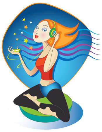 彼女の mp3 プレーヤーのガイド付き瞑想や音楽を聞いてヨガ蓮華座の女のベクトル イラスト。