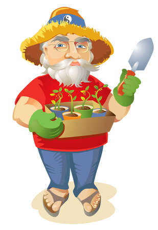 Happy old hippie gardener holding a box of seedlings in paper cups, wearing a straw hat, sandals and wire rimmed granny glasses.