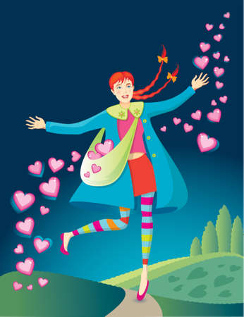 Smiling girl sowing Valentine hearts and love into the air as she skips down the path of life.  Ilustrace