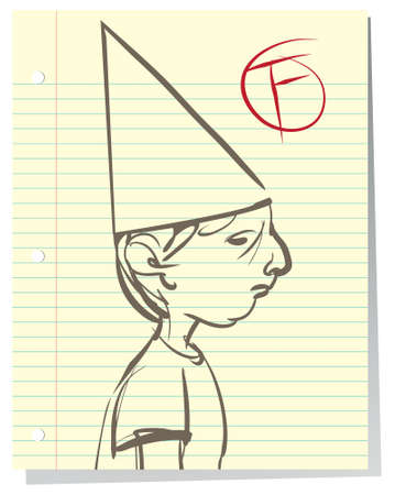 Illustration of a defeated little boy who is failing in school; wearing a dunce cap. Illustration
