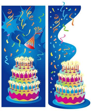 Twee achtergrond of rand illustraties voor verjaardag, verjaardag en partij feesten.