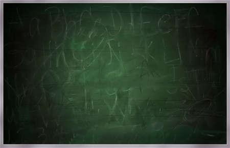 Raster afbeelding van een grote school greenboard of school bord. Resten van letters, cijfers en woorden te zien gedeeltelijk samen met scratchmarks en stoffige gebieden, zwakke resten van het verleden lessen worden gewist. Afbeelding van kras met geen enkele verwijzing gedaan