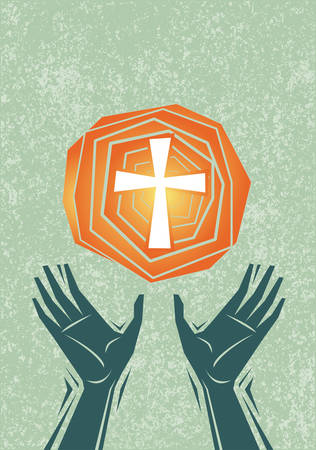 Hands raised in praise and prayer, with cross in the sky. Christian religious theme illustration. All elements including texture pattern on separate layers for easy editing.