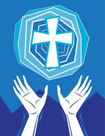 Handen aan de orde gesteld in lof en gebed, met kruis in de hemel, bergen in de achtergrond. Christelijke religieuze thema illustratie. Alle elementen op aparte lagen voor eenvoudige bewerking.