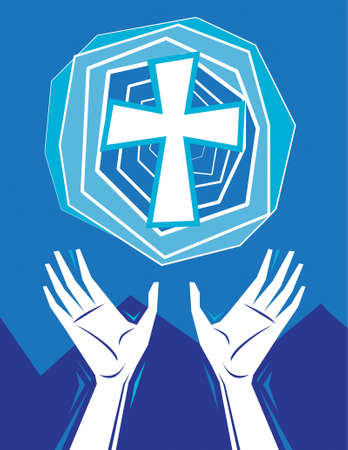 Hands raised in praise and prayer, with cross in the sky, mountains in background. Christian religious theme illustration. All elements on separate layers for easy editing. Illusztráció