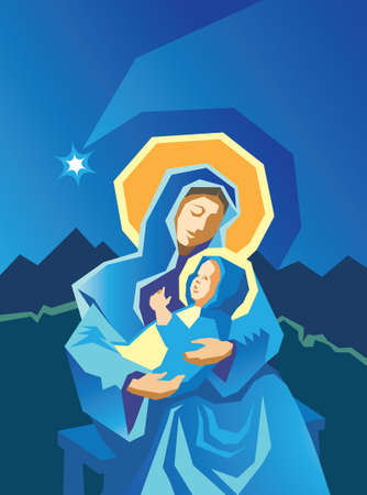 Woodcut style illustration of Virgin Mary and Baby Jesus with star of Bethlehem in the background. Stock Vector - 8217156