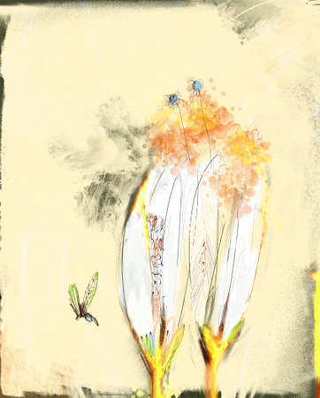 reproducing: Original painting illustrating pollen, allergies, plants and insects...nature reproducing! Stock Photo