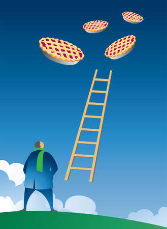 surrealistic:  illustration of little man gazing up into the sky at floating pies and a ladder connecting earth to the pies.  Symbolic theme of goals, dreams, ambitions, follow your dreams even when seemingly out of reach