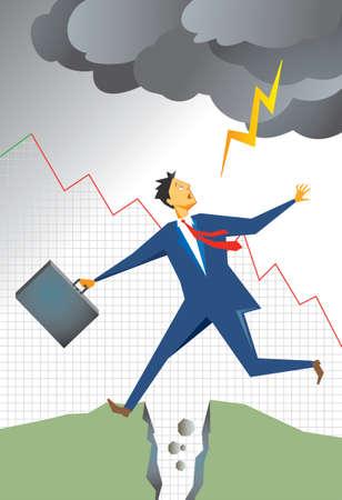 おびえたビジネスマンは割れ目のジャンプや、地球の分割し、嵐雲から雷が彼を打つこと。背景は落ちる販売の図のグラフ