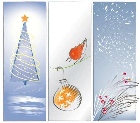 クリスマスのテーマは、赤い鳥クリスマス飾り、クリスマス ツリー、雪と雪を背景に色がミュートされている果実と松の枝で、ソフトを見てと緩い