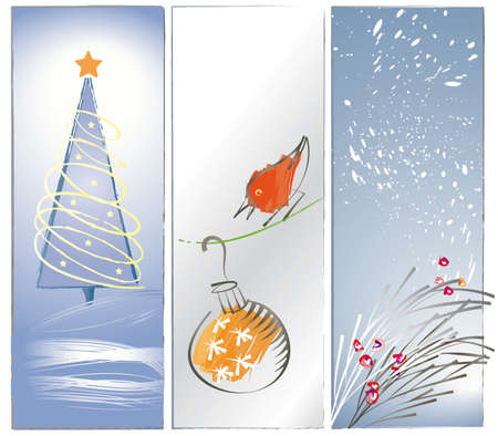 3 Panel illustrations in a loose, brushy, artistic sumi-e style with Christmas theme, red bird looking at Christmas ornament, Christmas tree in the snow, and pine bough with berries against a snowy background  Colors are muted and soft  Illustration