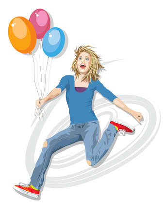 Illustration of pretty teenage girl jumping in the air holding balloons. Realistic style. Vector