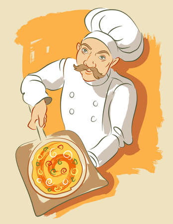 Illustration in a loose brushy style of a pizza chef removing pizza from oven. Elements on layers for easy color change.
