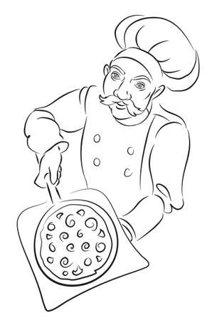 Pizza Chef Black and White Vector Illustration Ilustracja