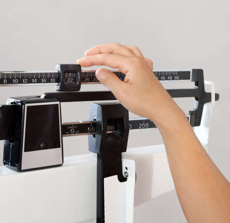 scale weight: Closeup view of woman Stock Photo