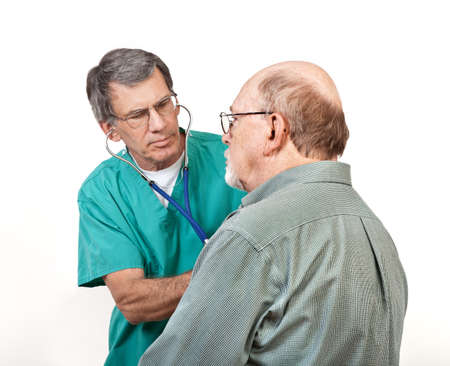 Male doctor listening to older man's heart with stethoscope. Closeup shot, white background.