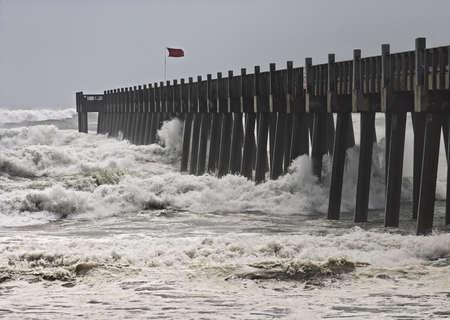 ashore: Hurricane winds move ashore at popular seaside resort in Florida. Stock Photo