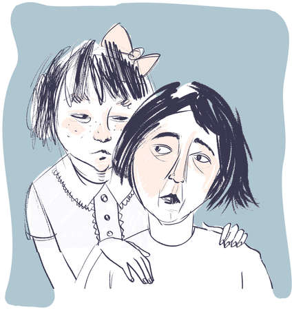 Worried mother with her daughter illustration.