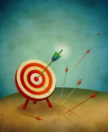 archery: Archery Target with Arrows and Bulls Eye Illustration Stock Photo