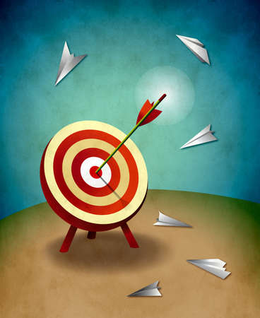 perseverance: Archery target with bull s eye arrow and paper airplanes illustration  Success and strategy concept  Stock Photo