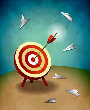 Boogschieten doel met het oog bull s pijl en papieren vliegtuigjes illustratie succes en strategie concept Stockfoto
