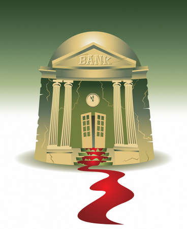 Illustration of a small town bank bleeding  I am the artist