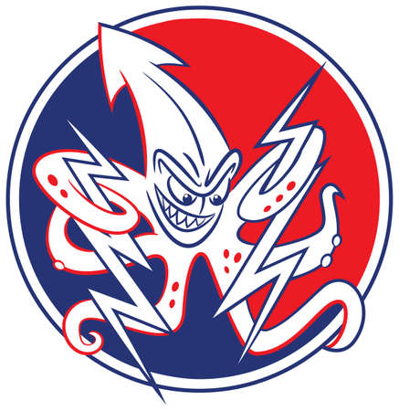 hurling: Cartoon of US Navy term, the squid. Vector cartoon in two colors of snarling squid throwing lightening bolts.