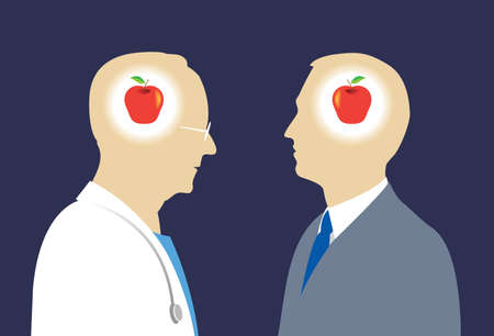 communication metaphor: Vector illustration of doctor and male patient in silhouette, discussing and coming to a meeting of the minds, or agreement, in their discussion and understanding, symbolically expressed by each having an apple in their