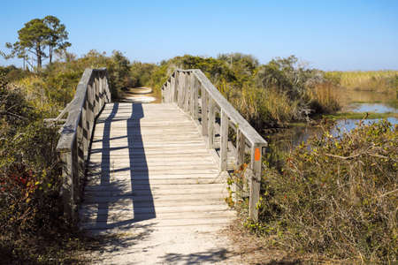 pensacola: Scenic arched wooden footbridge over a stream in Florida Panhandle  Stock Photo