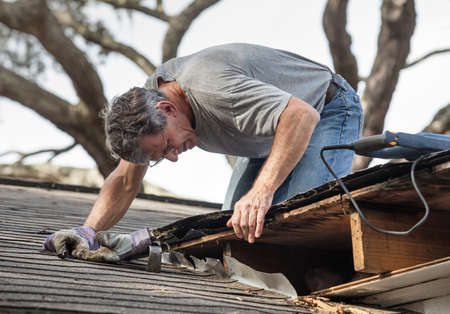 Close up view of man using crowbar and saw to remove rotten wood from leaky roof decking  After removing fascia boards he has discovered that the leak has extended into the beams and decking  photo