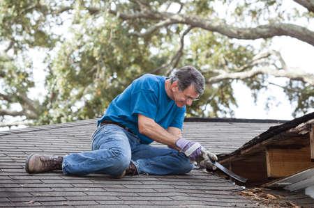 leverage: Hombre que usa palanca para quitar la madera podrida de techo con goteras Despu�s de quitar tablas de alero que ha descubierto que la fuga se ha extendido a las vigas y cubiertas