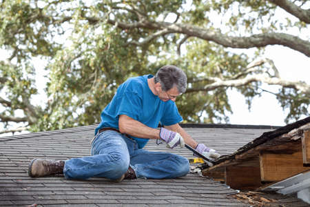 Man using crowbar to remove rotten wood from leaky roof  After removing fascia boards he has discovered that the leak has extended into the beams and decking