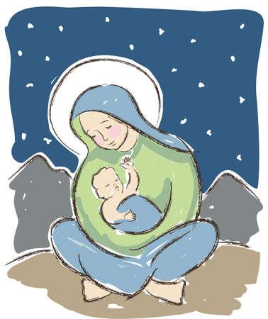 nascita di gesu: Vergine Maria che tiene Ges� bambino illustrato in uno stile artistico sciolto. Illustrazione vettoriale originale. Vettoriali