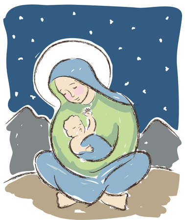 nativity scene: Virgin Mary holding baby Jesus illustrated in a loose artistic style. Original vector illustration. Illustration