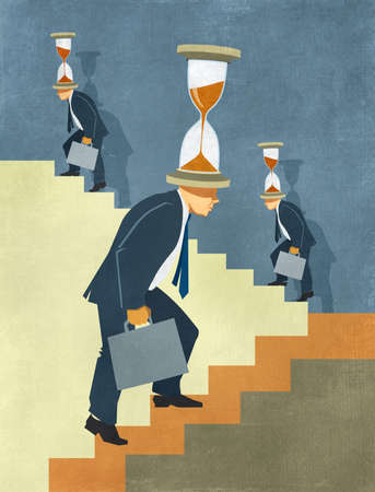 Illustration of businessman in suit climbing endless stairs with hourglass on his head