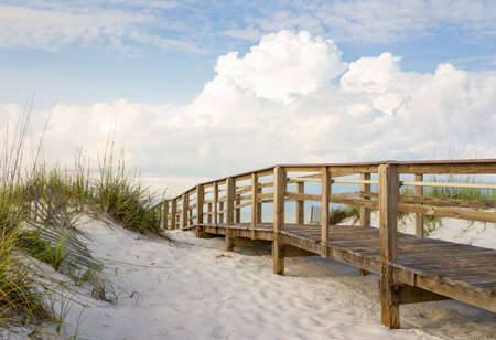 pensacola: Inviting boardwalk through the sand dunes on a beautiful beach in the early morning  Beautiful puffy clouds in the sky