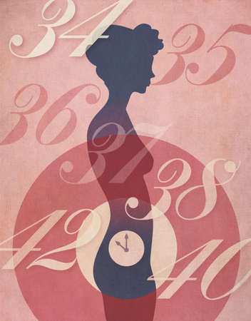 middle age women: Biological Clock concept  Retro poster style illustration of woman Stock Photo