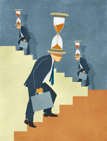 Illustration of businessmen climbing stairs under time pressure with hourglasses on heads  Stok Fotoğraf