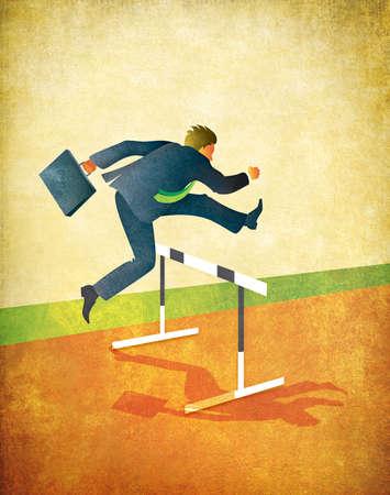 Illustratie van zakenman met aktetas springen over hindernissen op atletiekbaan Geweven kunst met veel ruimte voor kopieer-en-of bijsnijden Grote originele 18x23 centimeter op 300dpi Stockfoto