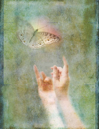 releasing:  Metaphorical photo-illustration expressing themes of hope, inspiration, salvation, wonder, joy, escape, freedom, flight, and direction forward. Textured collage using artists own photographs.