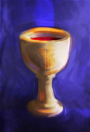 evident: Painting of a communion chalice with Christogram (chi-ro) engraved on cup. Bright colors and bold brushstrokes with textured canvas evident.