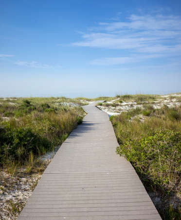 pensacola: Wooden boardwalk through wetlands leading to beach in Pensacola, Florida. Stock Photo